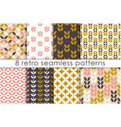 set of floral seamless pattern in scandinavian vector image
