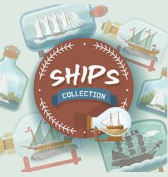 ship in bottle boat in miniature backdrop vector image