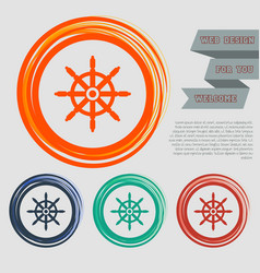 Ship steering wheel icon on red blue green vector