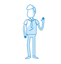 silhouette cute man with hand up and nice wear vector image