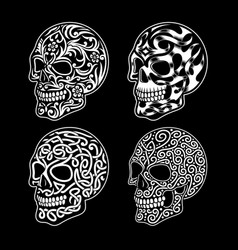 skull ornament collection in black and white vector image