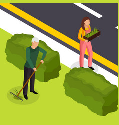 spring cleaning isometric composition vector image