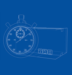 stopwatch with cardboard box sketch vector image