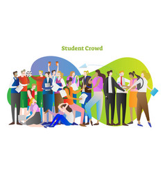student crowd group of young people in college vector image