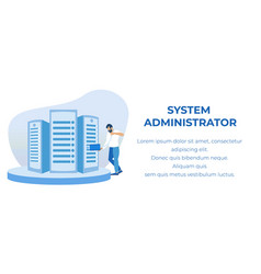 System administrator servicing advertising banner vector