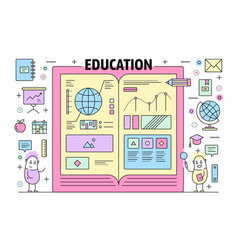 thin line education poster banner template vector image