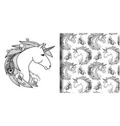 unicorn head print and seamless pattern set vector image