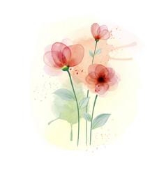 Watercolor hand painted with colourful flower vector