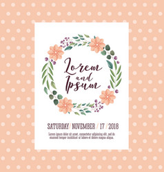 wedding card wreath flowers leaves natural vector image