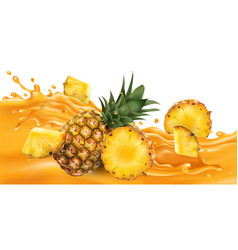 Whole and sliced pineapple on a fruit juice wave vector