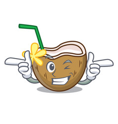 wink cocktail coconut character cartoon vector image