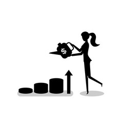 woman water charts and graphs by watering can vector image
