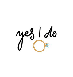yes i do bridal sign marriage proposal print vector image
