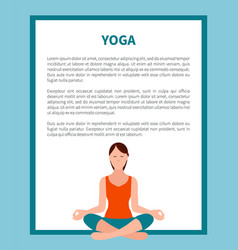 Yoga lotus pose banner frame vector