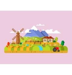 House in village farm vector image vector image