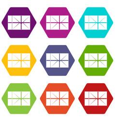 postal parcel icon set color hexahedron vector image vector image
