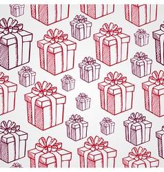 Vintage Christmas presents seamless pattern vector image