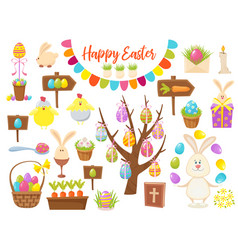 big collection of happy easter objects flat vector image