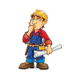 Cartoon Builder Thinking vector image vector image
