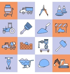 Construction icons set flat line vector image vector image