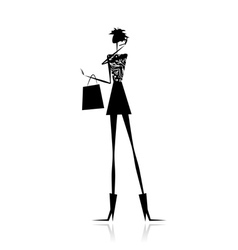 Fashion girl silhouette with shopping bag vector image vector image