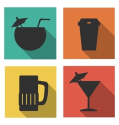Flat icons for drinks vector image vector image