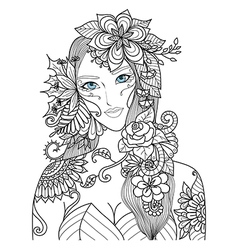 flowers lady color vector image vector image