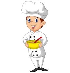 funny chef cartoon bring bowl vector image vector image