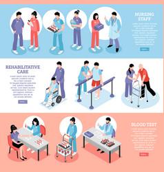 hospital horizontal isomeric banners set vector image
