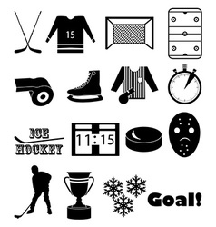 Ice hockey icons set vector image vector image