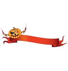 pirate pumpkin halloween banner vector image vector image