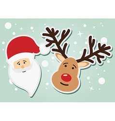 Santa Claus and reindeer Christmas and New Year vector image