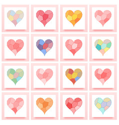 set of patchwork heart vector image vector image