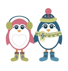 Two penguins in winter vector image