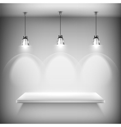 White Empty Shelf Illuminated By Spotlights vector image