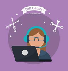 call center woman laptop headset vector image
