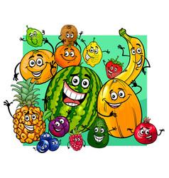 Cute fruit characters group cartoon vector