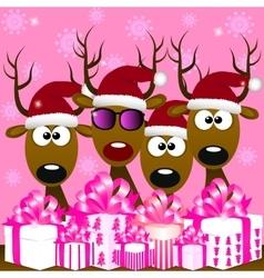 deers with red santa hat vector image vector image
