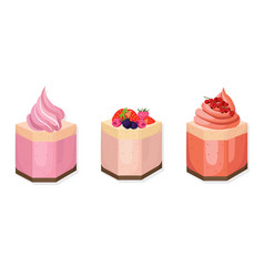 delicious cakes set for menu invitation vector image vector image