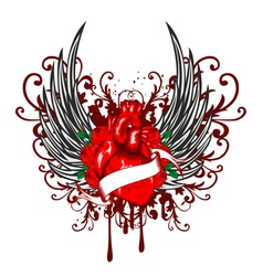 heart wings and rose vector image