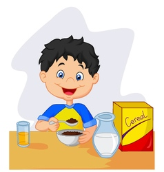little girl having breakfast cereals with milk vector image