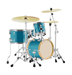 realistic drum kit vector image vector image