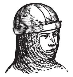 Secret skull-cap vintage engraving vector