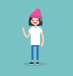 winking girl sticking out tongue emotional vector image vector image
