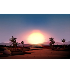 A view of the desert during sunset vector image vector image