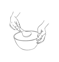 cooking hand with serving spoon and bowl vector image vector image