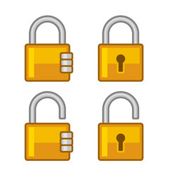 lock icons set flat style vector image