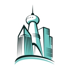 Modern city with a communications tower vector image vector image
