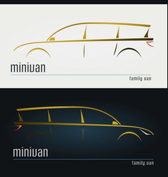 set of modern minivan silhouettes vector image vector image