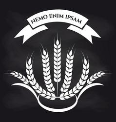 wheat branches on blackboard logo vector image